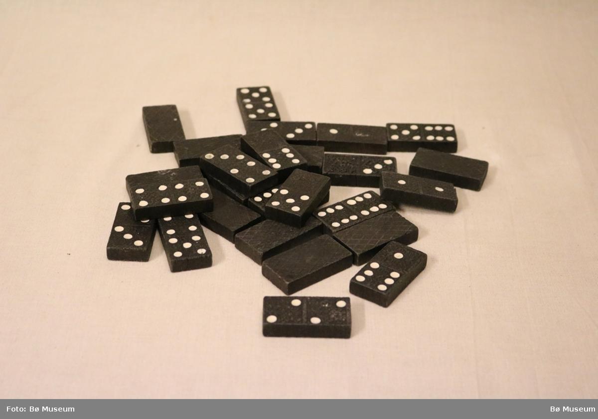 26 dominobrikker. Brikkene har rektangulær form, rosettmønster i låg relieff og kvite prikkar som syner talverdien.