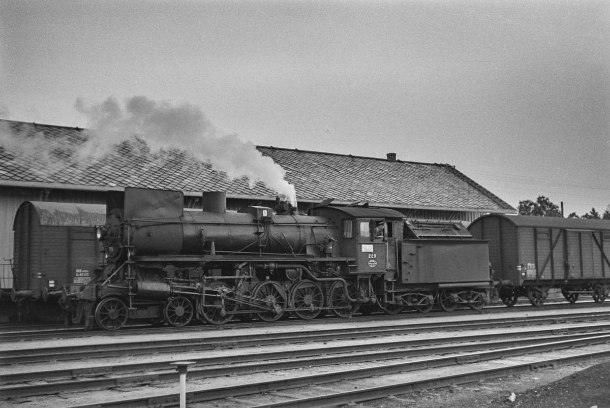 Damplokomotiv type 26b nr. 229 i nordgående godstog på Røros stasjon.