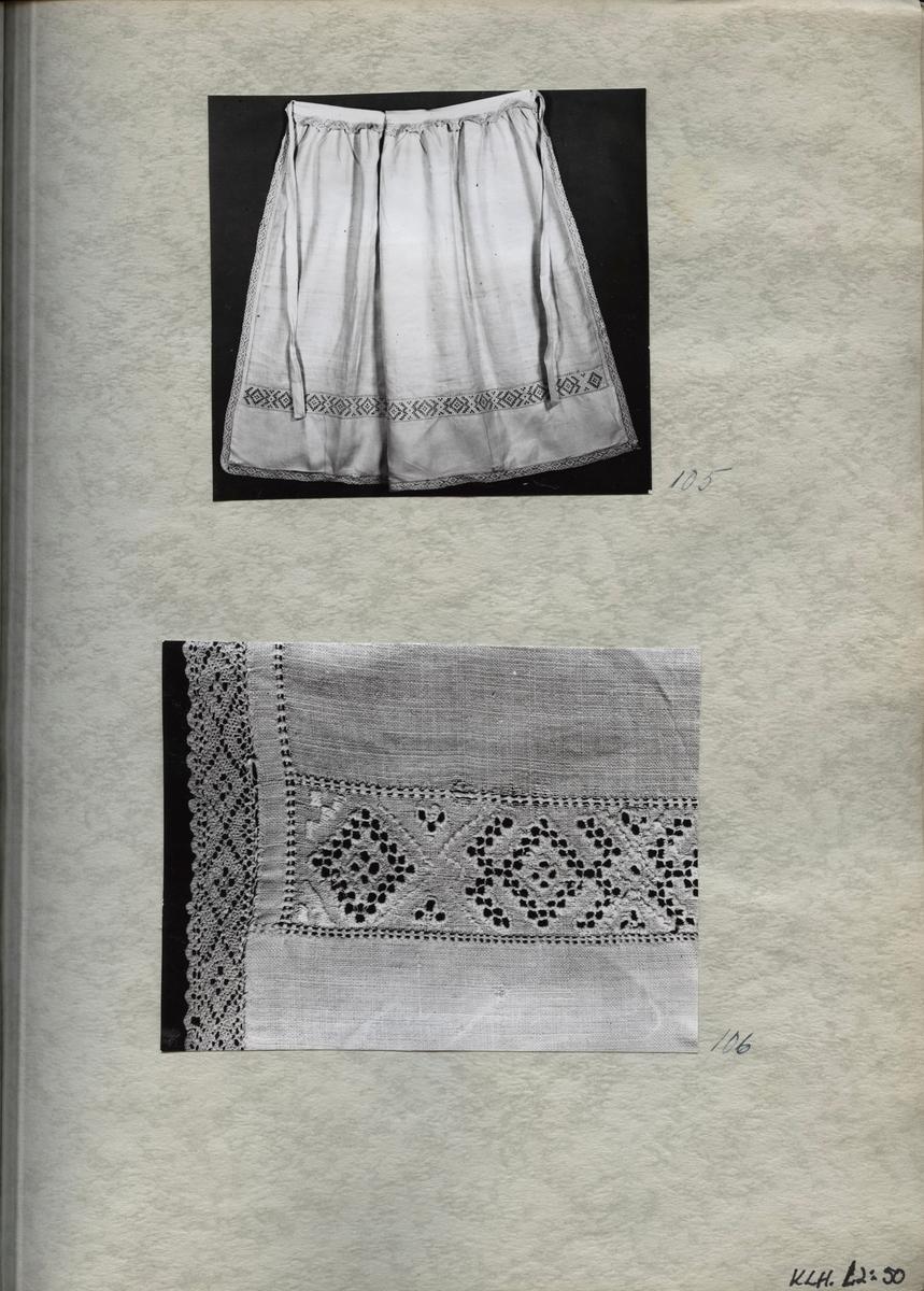 Kartongark med fotografier av förkläde.
