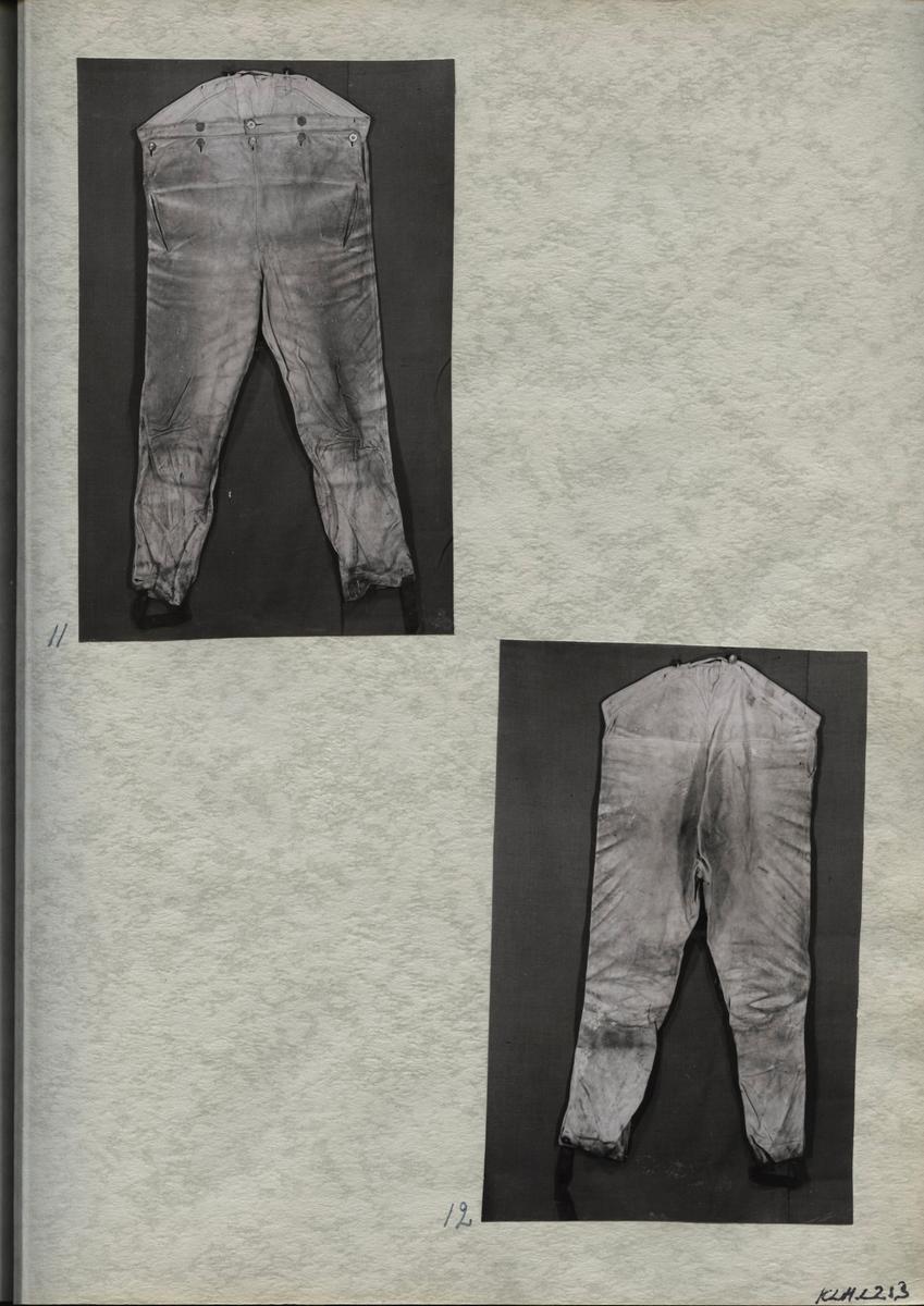 Kartongark med 2 fotografier av byxor i sämskskinn.