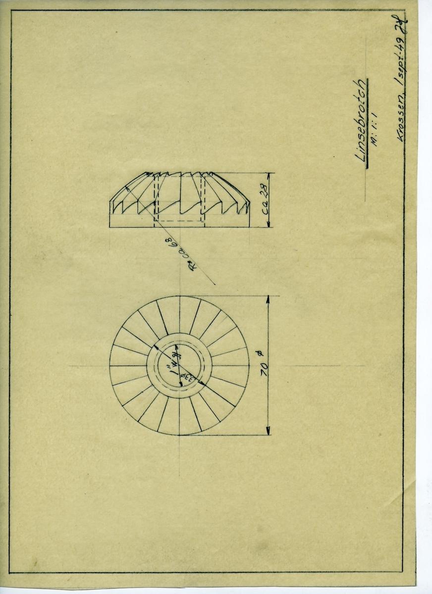 Håndtegnet arbeidstegning for støtteknekt for linsebrotch, utarbeidet Krossen 1. sept 1949.