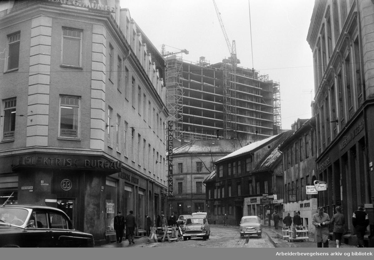 Telegrafverkets nye administrasjonsbygg sett fra Pilestredet. Februar 1961