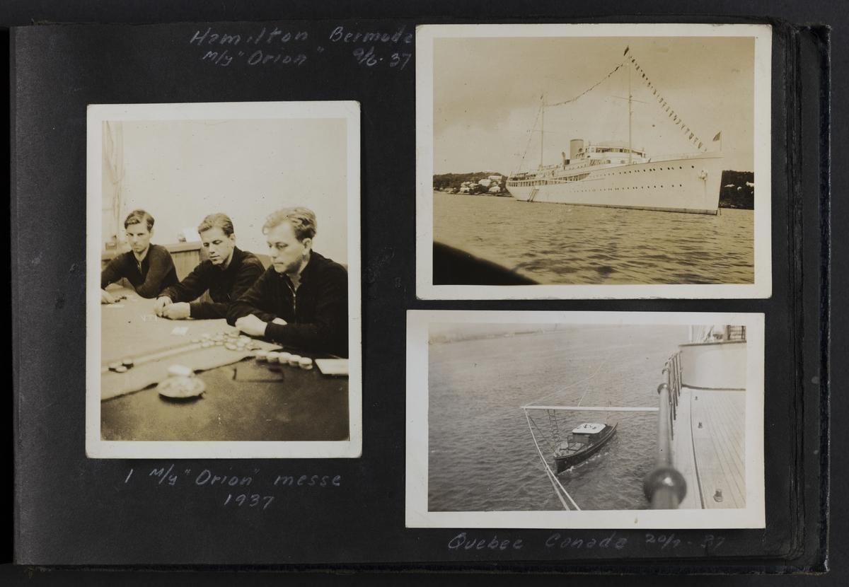 """I M/Y """"Orion"""" messe 1937 (til venstre). Hamilton Bermuda M/Y """"Orion"""" 9/6-37 (øverst til høyre). Quebec Canada 20/7-37 (nede til høyre)."""