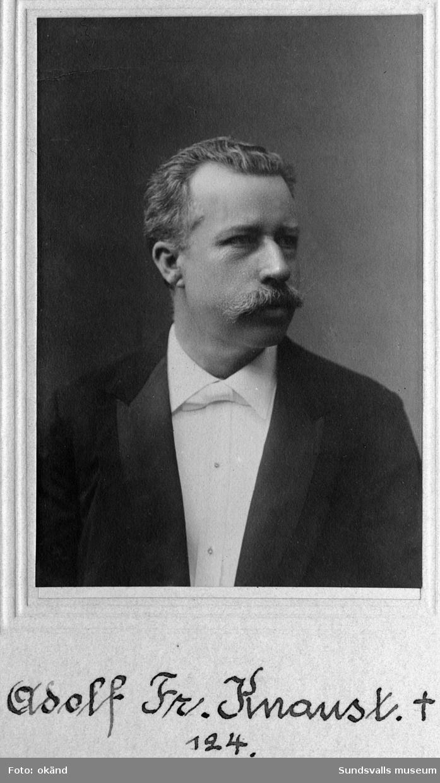 Porträtt på Adolf Fredrik Knaust, grundare av hotell Knaust. Bild ur Bifrost medlemsmatrikel.
