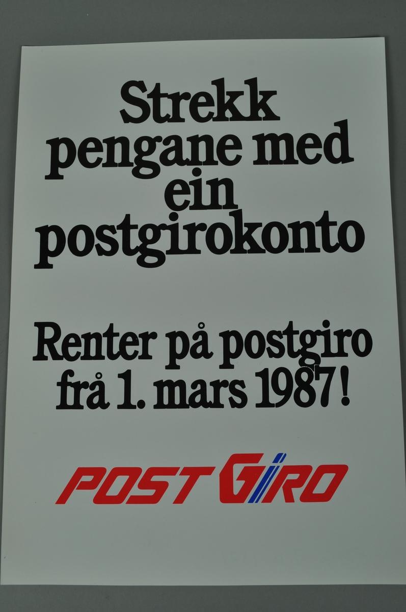 Plakat med tekst.