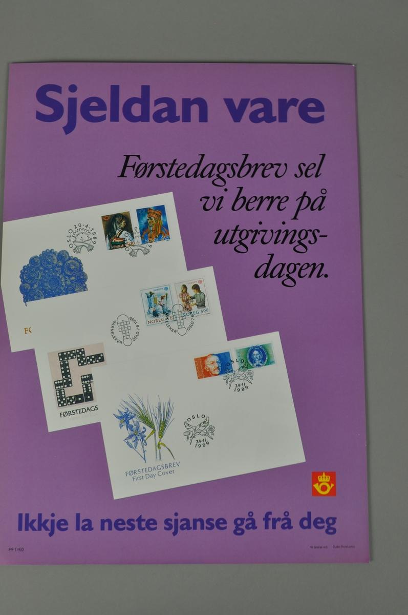 Salsgsplakat for Postens førstedagsbrev. Nye frimerker 24.11.1989. Bokmål og nynorsk.