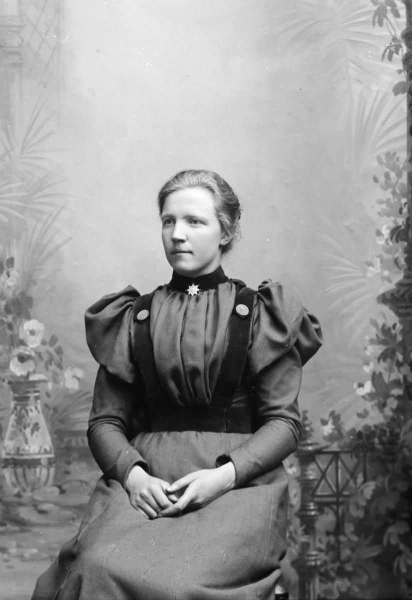 Portrett av Julie Rusthagen f. 1871 i Nord-Fron. I 1900 hadde hun pensjonat og syforretning på Heggerud, Sør-Fron.
