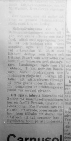 Ballong, tidningsreportage i Smålands Allehanda.