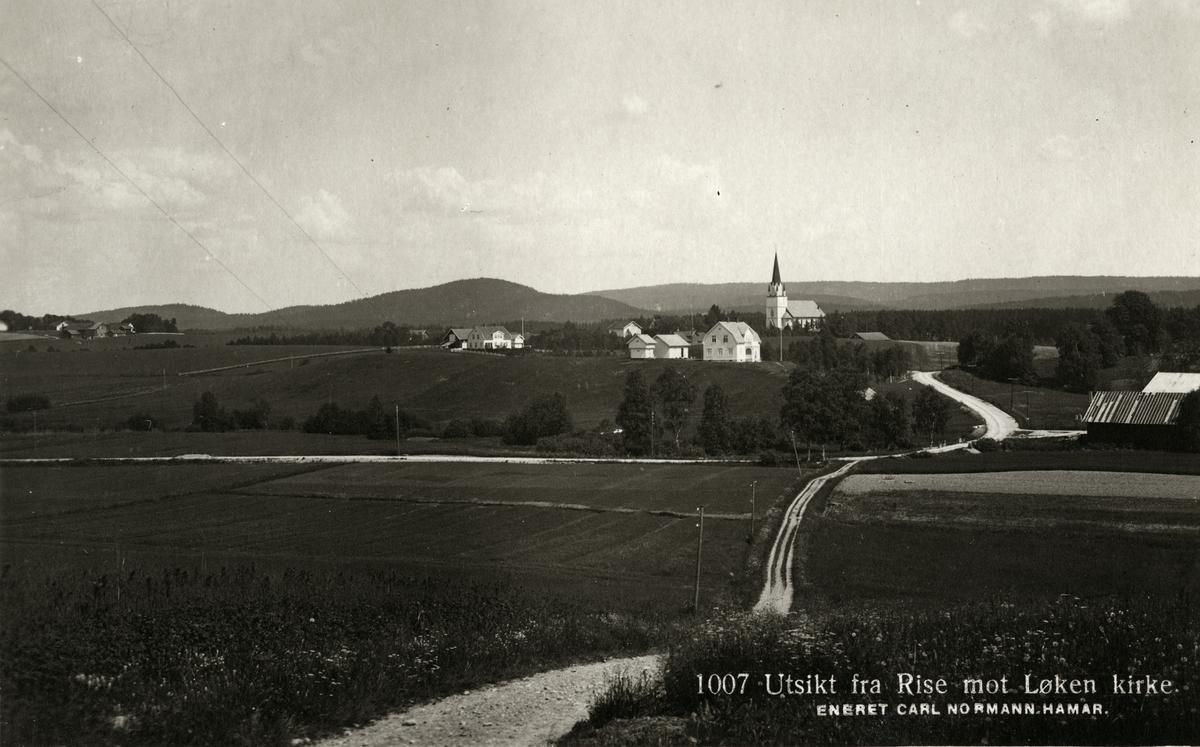 Utsikt fra Rise mot Løken kirke