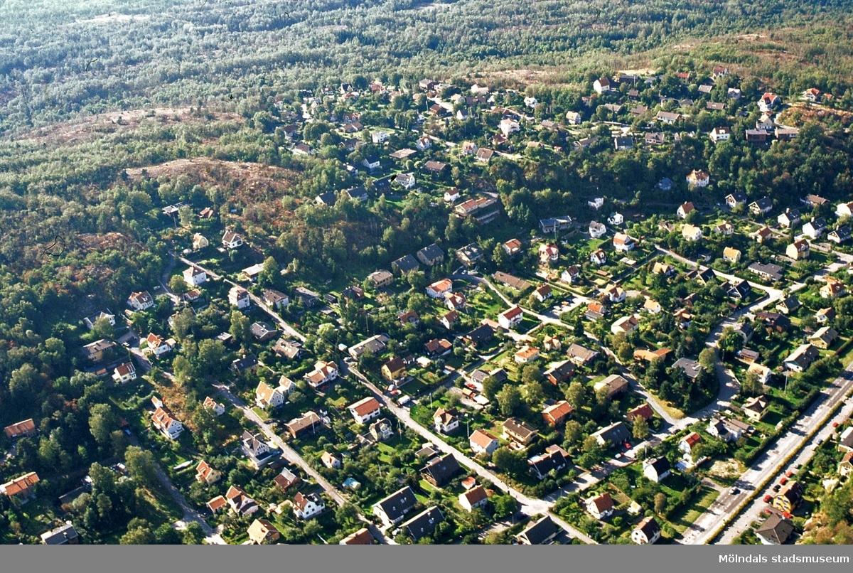 Flygfoto över området Södermalm i Toltorpsdalen, Mölndal. I nedre högra hörnet ses Toltorpsgatan.