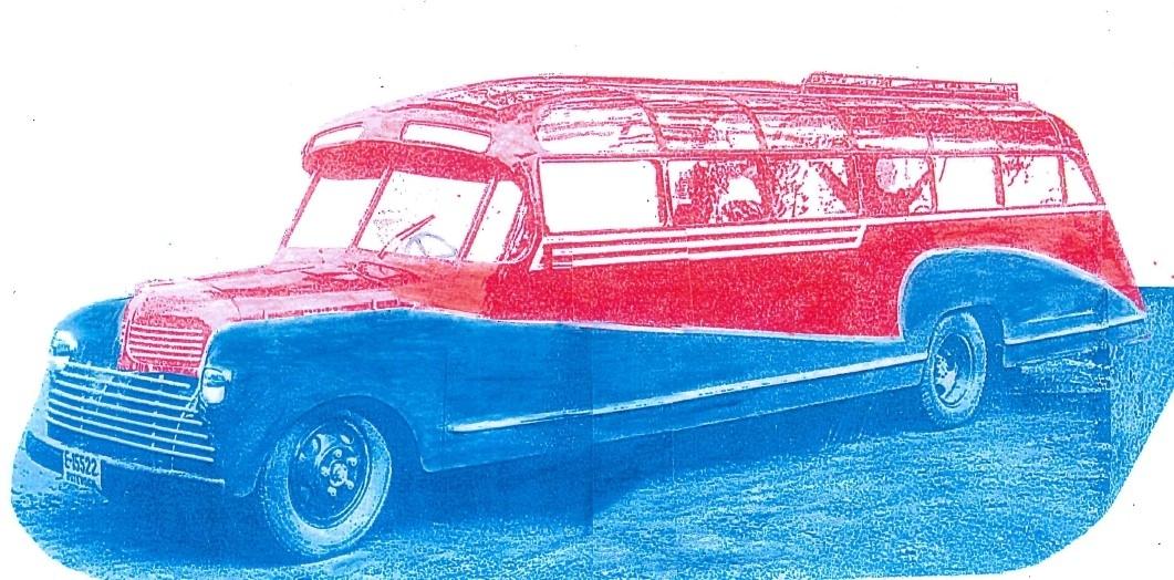 Håndkolorert bilde av bussen VENUS som kom ut fra karosserifabrikken i Brumunddal i juli 1948.
