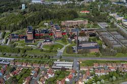 Flygfoto över Värnamo sjukhus.