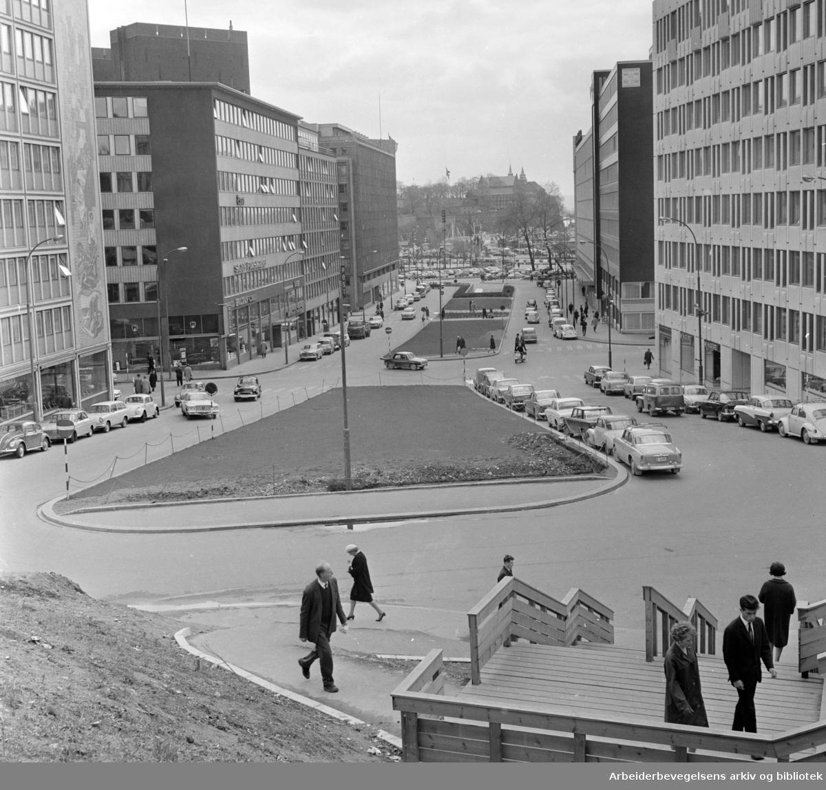 Vestre Vika. Fra det nye Vika. Haakon 7 's gate. Mai 1965