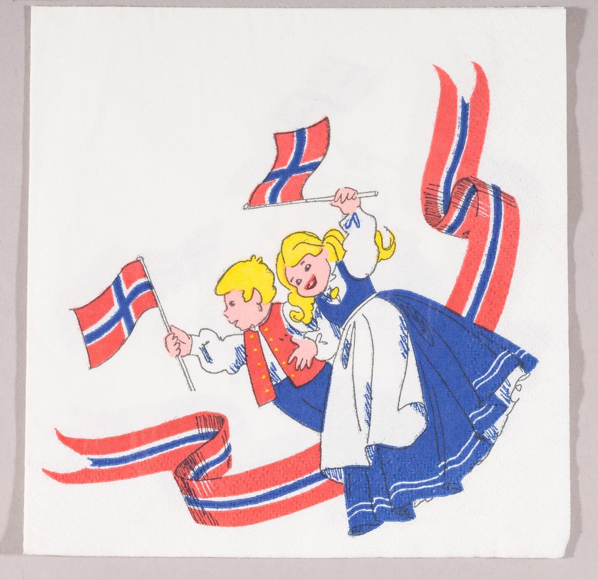 En gutt og en jente kledt i bunad vifter med norske flagg. Et bånd i rødt, hvitt og blått.