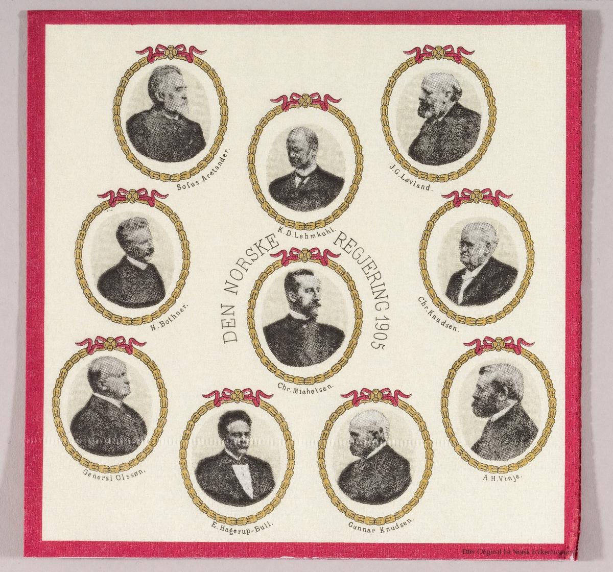 Den norske regjering 1905. Regjeringsmedlemmenes portretter med navn.
