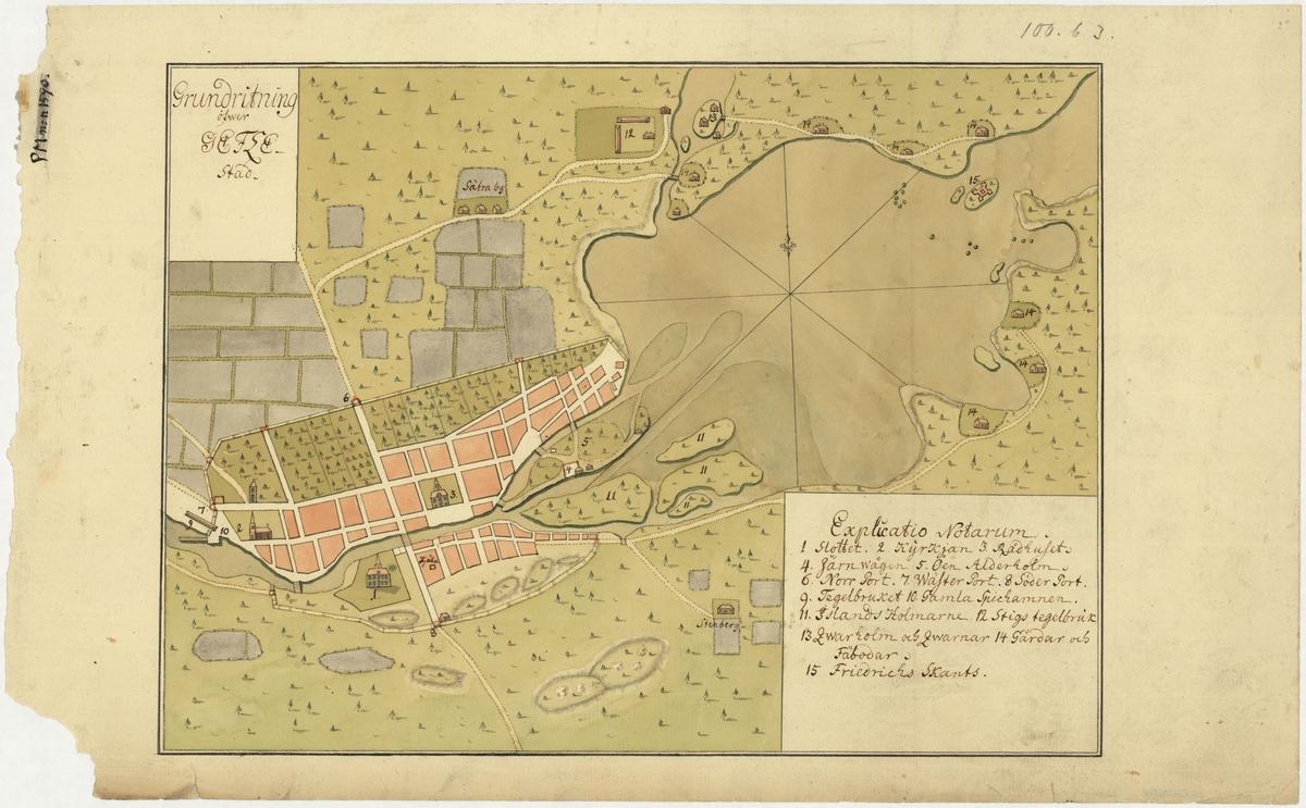 Stadskarta över Gävle, Gästrikland, från mitten av 1700-talet, ritad och färglagd för hand.