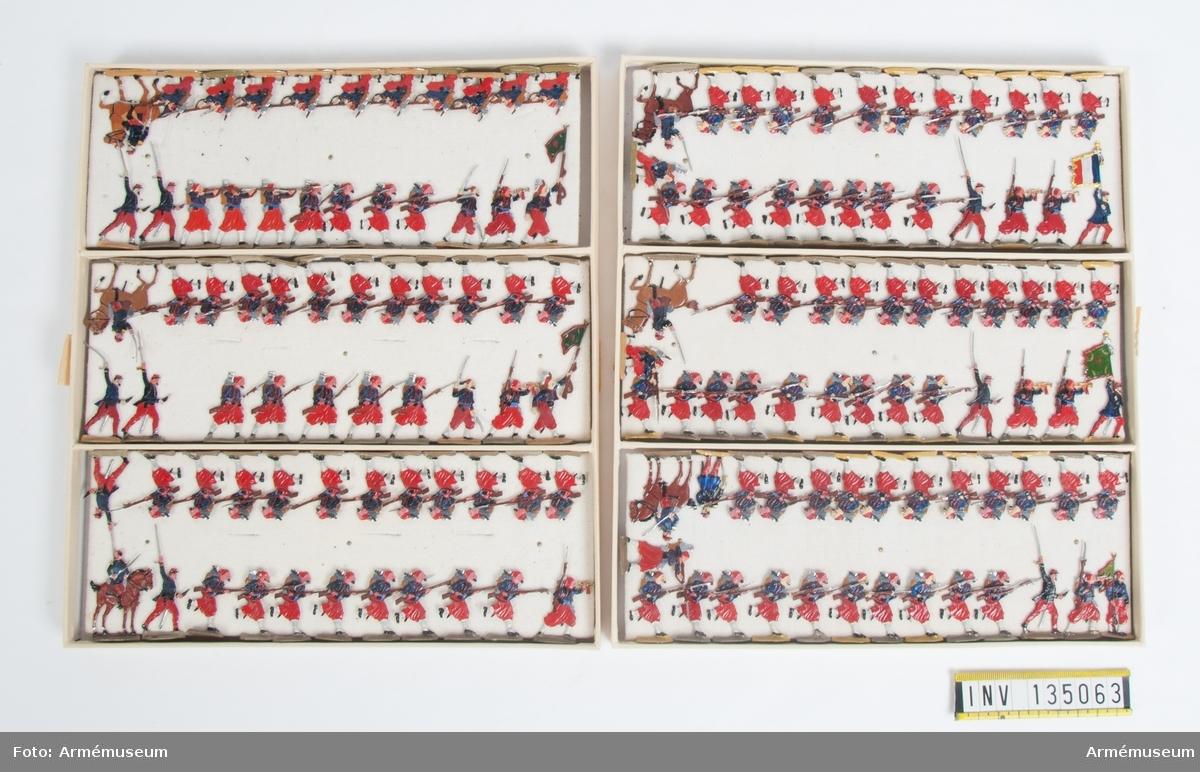 Infanteri, Zuave, från Frankrike från Fransk-tyska kriget. Två lådor med figurer. Fabriksmålade.