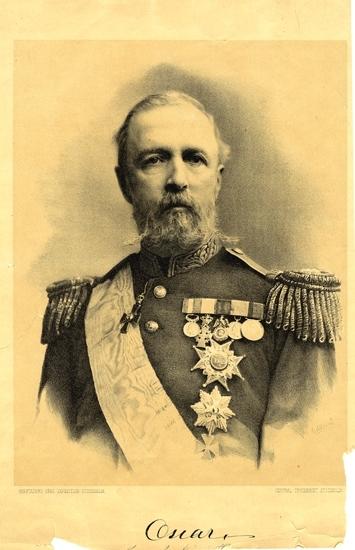 Litografi. Porträtt av Oscar II i generalsuniform med ordnar m.m.