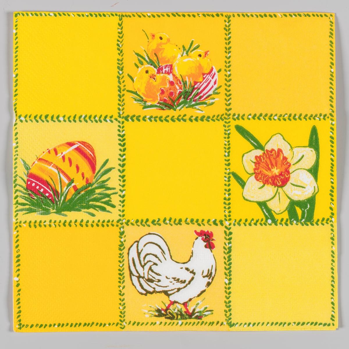 Servietten er inddelt i 9 firkantede felter, hvorav 4 er med ulike motiv. Kyllinger i eggeskall. Dekorert påskeegg i gress. Påskelilje. Hvit høne.