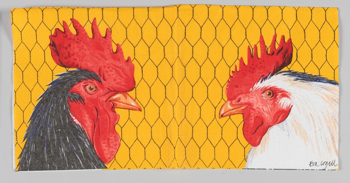 Hodet av en sort hane og hodet av en hvit høne. Bakgrunnen gul med et trådnett (innhegning).