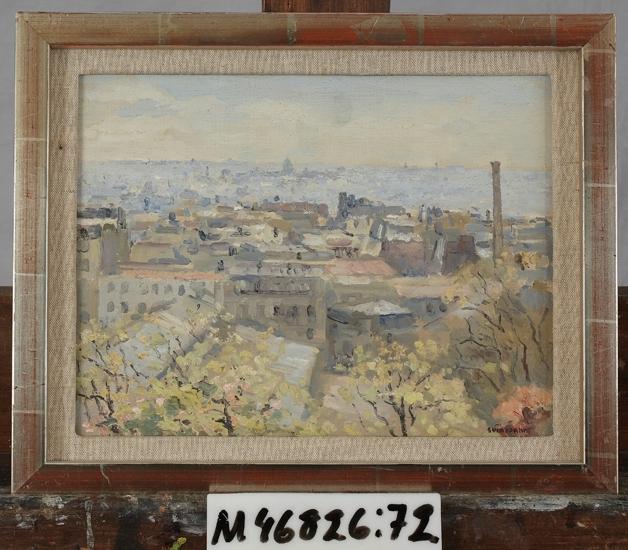 """Oljemålning på träpannå.  Utsikt från """"Square S:t Pierre, Paris""""."""