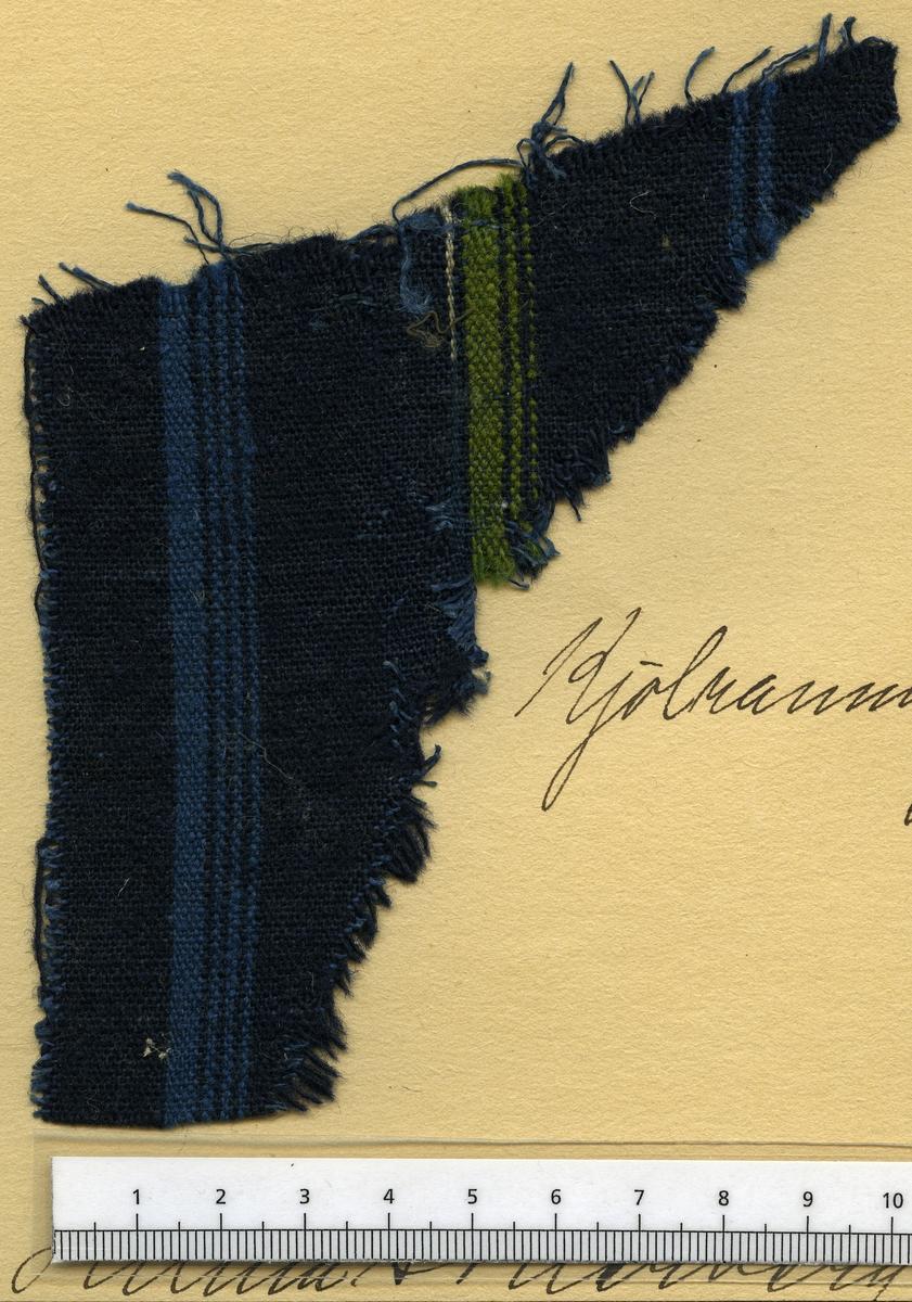 Anmärkningar: Vävnadsprov Olga Anderzons samling. Kjolrandning,  Fru Hilma Söderberg, Lågbo Västerfärnebo. Vävprov av halvylle i tuskaft, randigt. Bomullsvarpen är blå. Inslaget av ull är randat i marinblått, blått och grönt.