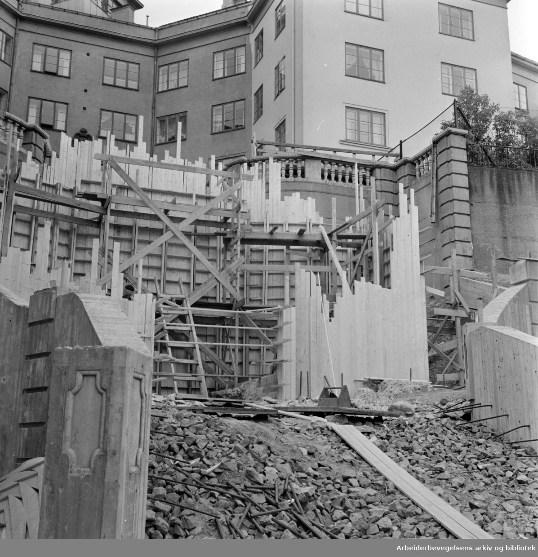 Ila. Ilatrappen bygges nå opp på ny, vil bli utstyrt med varmeelementer. September 1966