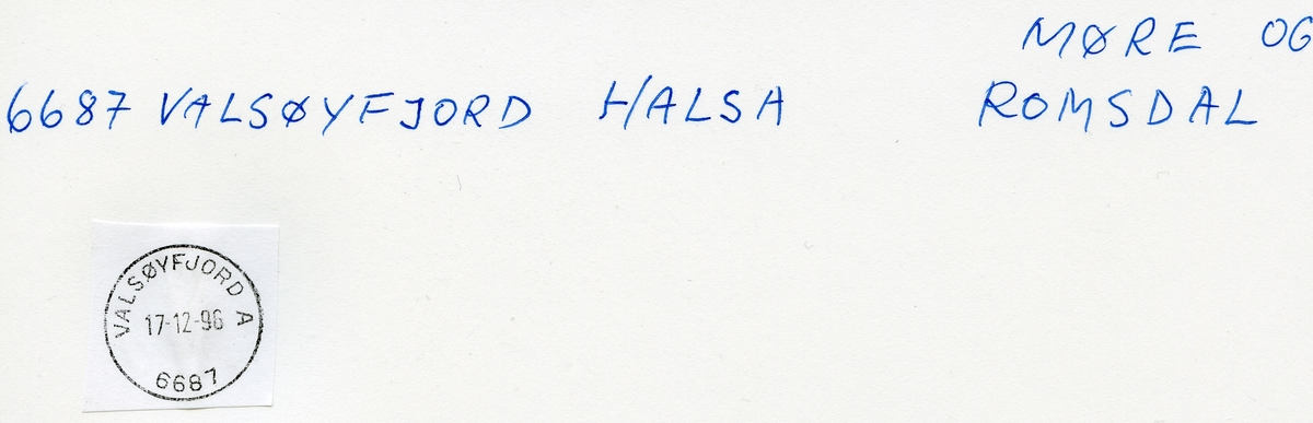Stempelkatalog 6684/6687 Valsøyfjord (Valsøfjorden, Enge i Nordmør, Engjan på Nordmøre, Enge), Kristiansund, Halsa, Møre og Romsdal