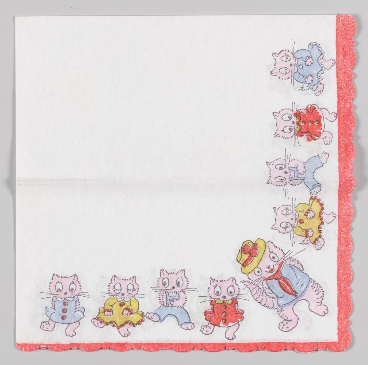Mange katter i kjoler og bukser som danser i en lang rekke. Rød kant.