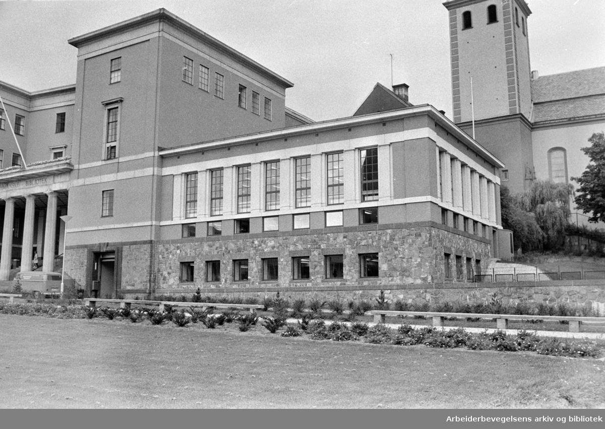 Deichmanske Bibliotek: Nytt tilbygg. Eksteriør. September 1972