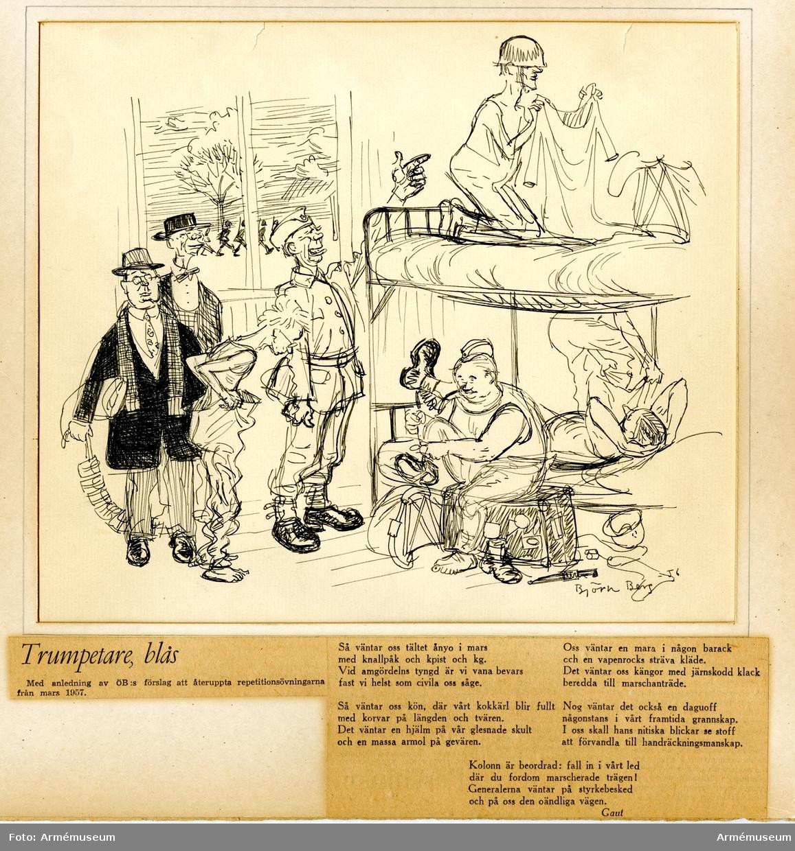"""Grupp M I. Tuschteckning av Björn Berg, """"Trumpetare blås"""". Dagens Nyheter 21.11 1956."""