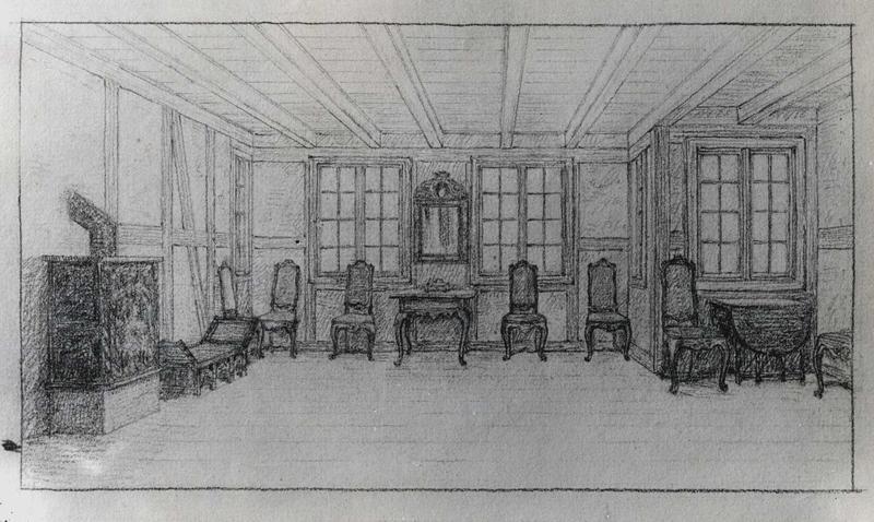 Skisse til innredning av salen i Tollbugata 14