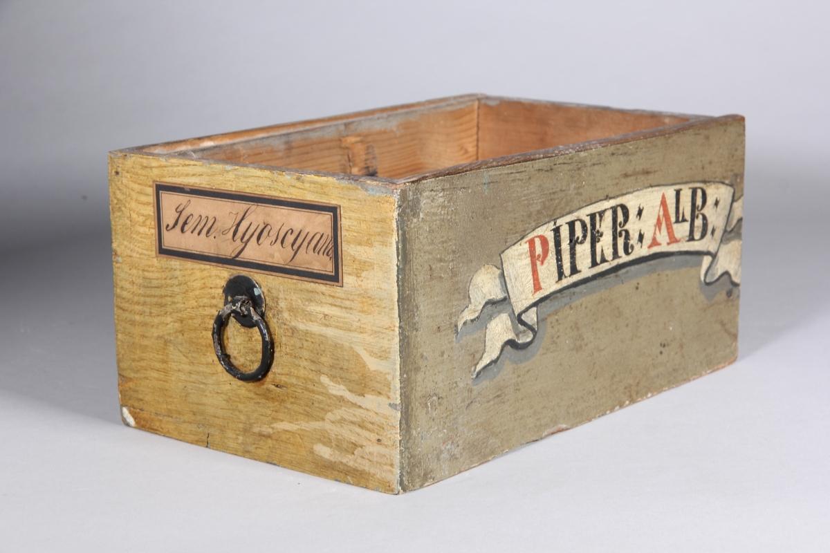 Låda, rektangulär, av trä, målad. Fals för skjutlock, men locket saknas. Dragring av metall. Lådan förkortad.