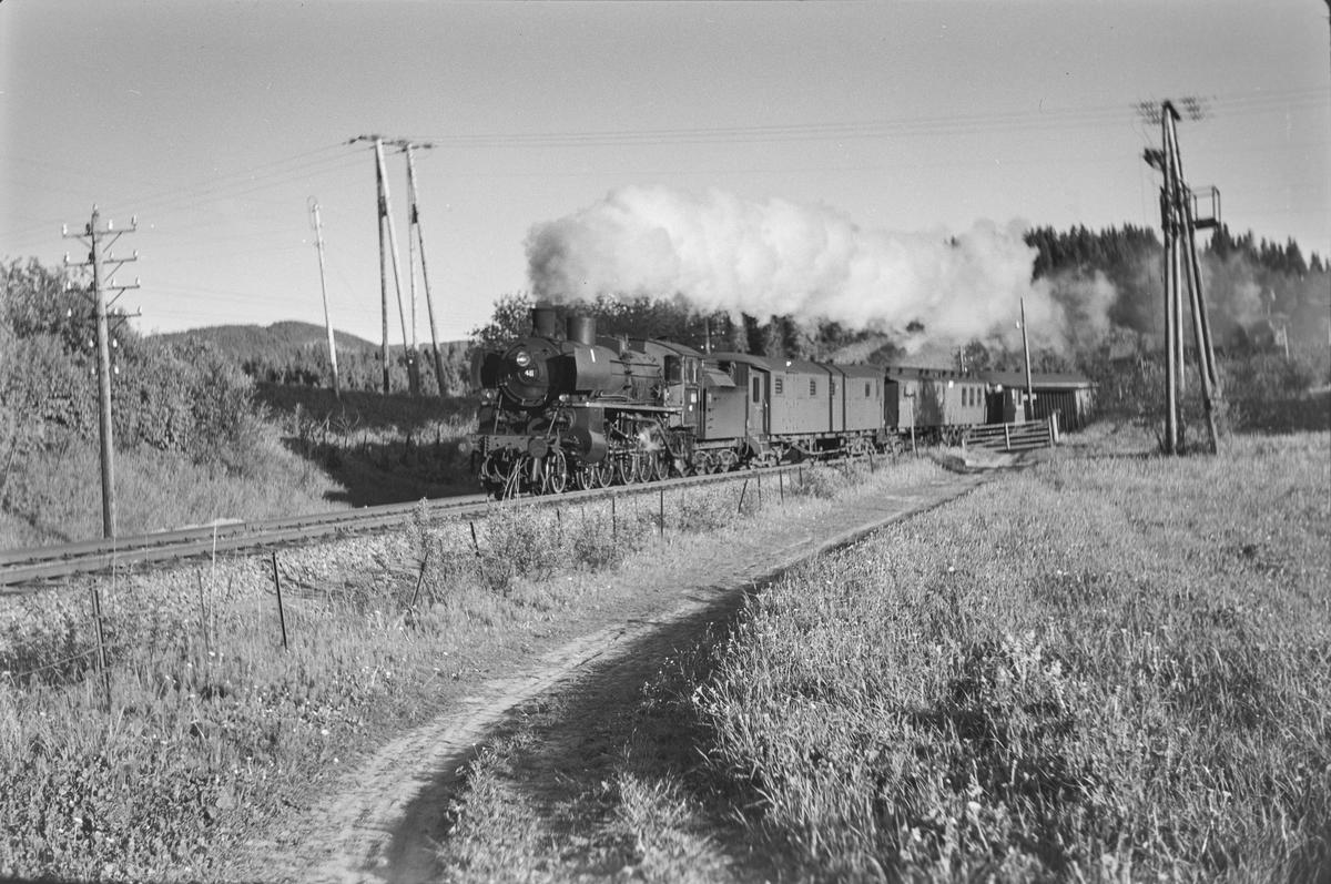Dagtoget fra Oslo Ø til Trondheim over Røros, Ht. 301, passerer Hegstad holdeplass mellom Heimdal og Nypan. Toget trekkes av damplokomotiv type 26c nr. 411.