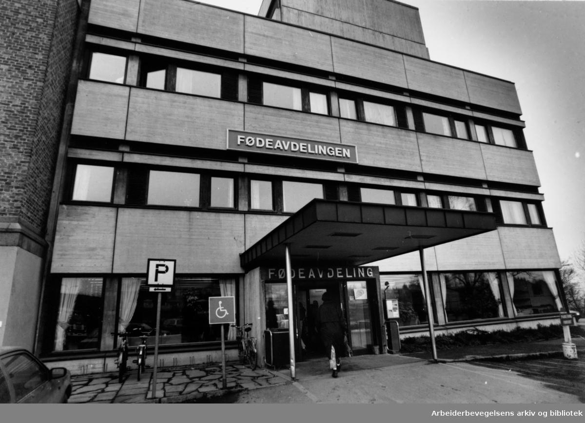 Aker sykehus. Fødeavdelingen. Eksteriør. Februar 1992