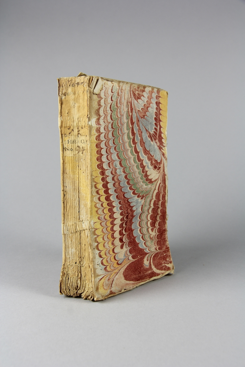 "Bok, häftad, ""Mémoires pour servir à l´ histoire des hommes illustres"", del 10:2. Pärmar av marmorerat papper, oskuret snitt."