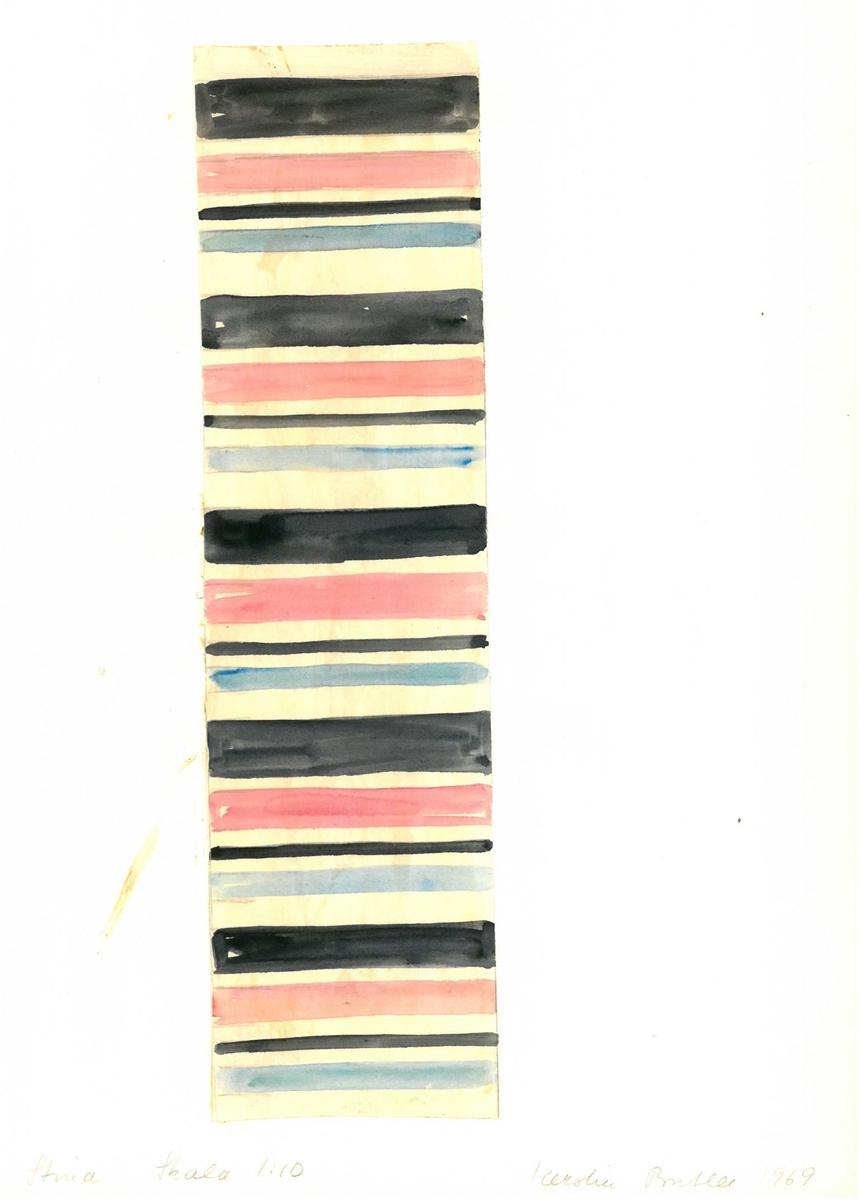 """Skiss till trasmatta. Formgivning: Kerstin Butler 1969 """"Stina"""""""