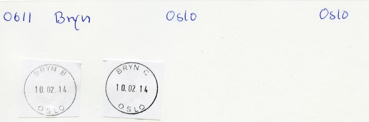 Stempelkatalog,Bryn underpostkontor 1, Oslo postdistrikt