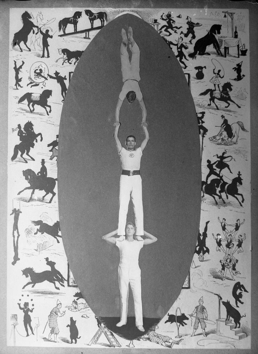 Halvar Olsson står på Einar Olssons axlar och håller uppe Hugo Larsson som står på händer. Alla tre har vita gymnastikkläder och bilden är ett kollage (AM HO 00071-00073).