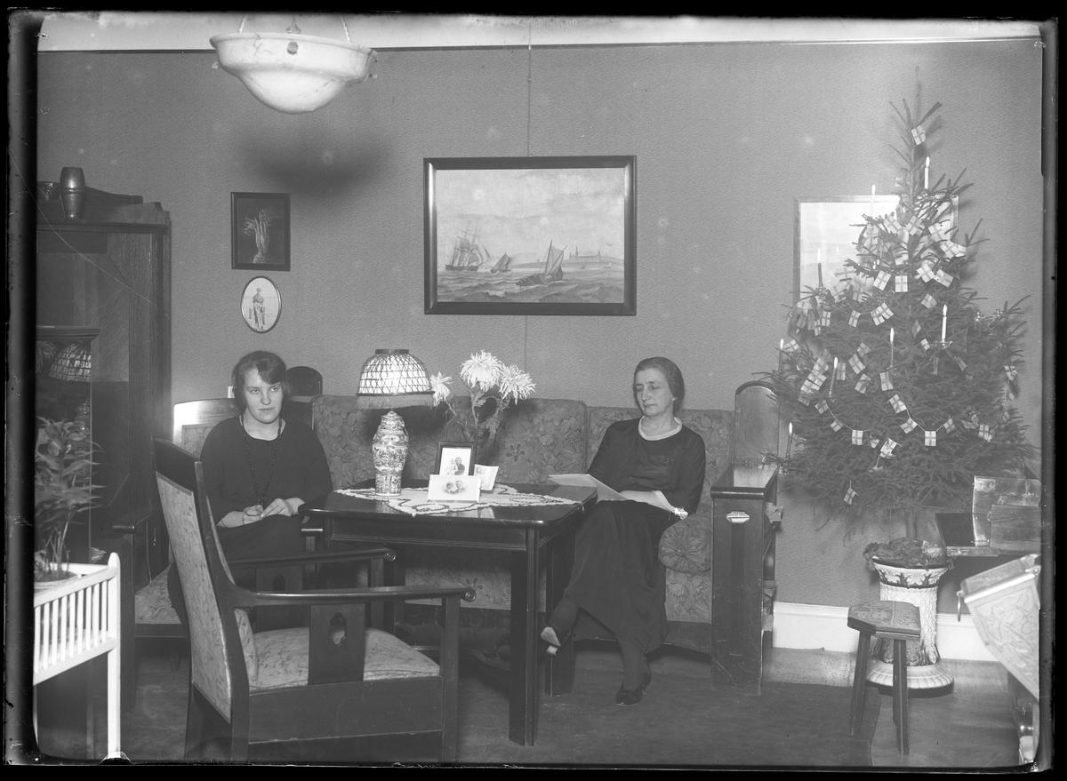 Fru Lenander sitter och läser i soffan medan hennes dotter sitter i en armlänstol bredvid. Rummet är inrett med mörka trämöbler och pyntat med en julgran.