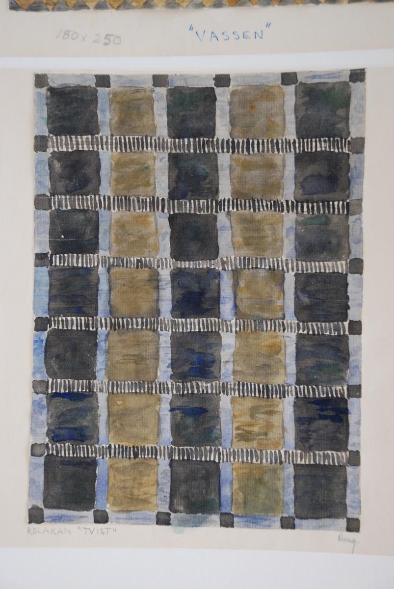 Skisser till rölakansvävar komponerade av Ann Mari Gunnarsson.