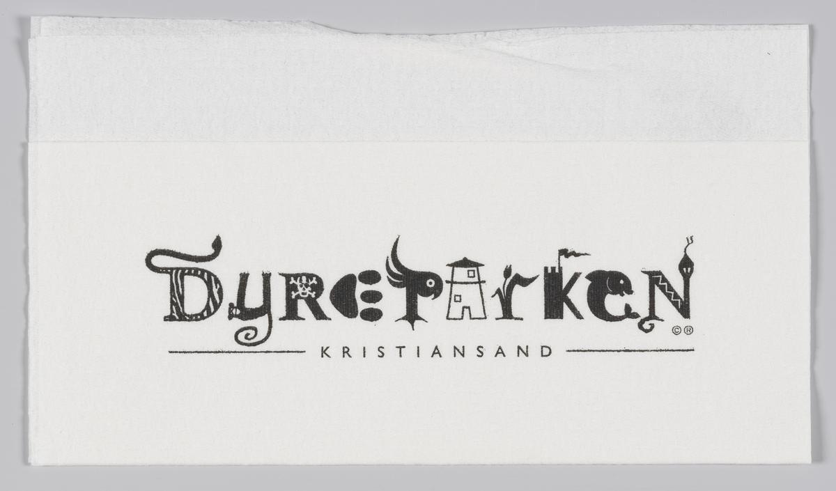 Dyrespor og reklametekst for Dyreparken i Kristiansand. Bokstaver som er formet som dyr og hus i dyreparken.  Kristiansand Dyrepark er en kombinert dyre- og fornøyelsespark,  Reklame for Dyreparken på MIA.00007-004-0210; MIA.00007-004-0211.