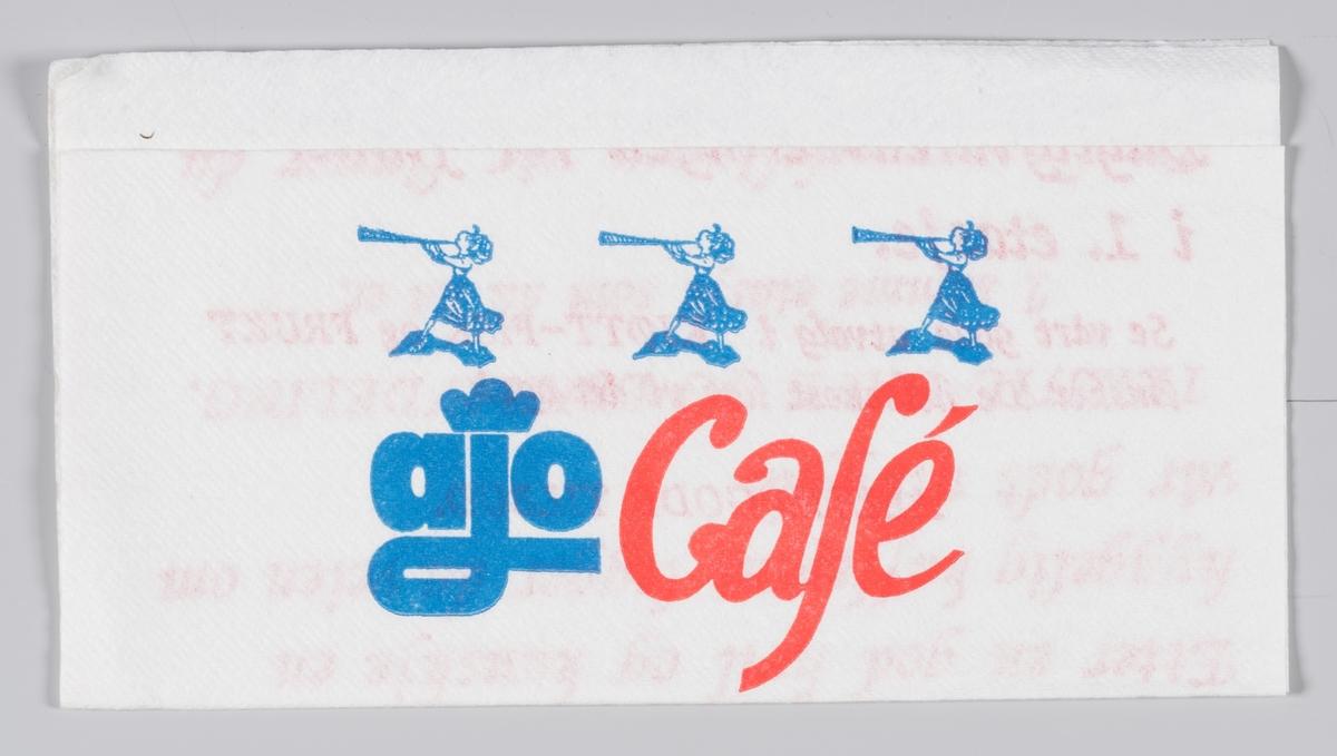 Tre kvinner blåser i horn og en reklametekst ofr ajo cafè i Otta.  Ajo cafè på Otta ble åpnet i 1975 og den ble nedlagt i 1990-årene.