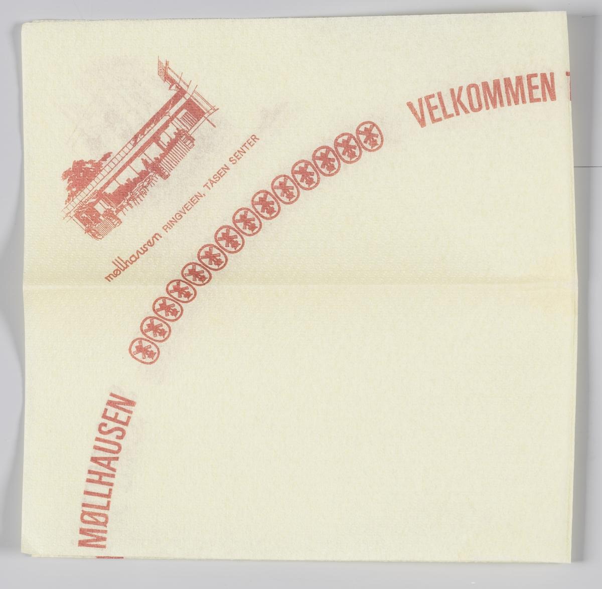Bygninger med spisesteder og reklametekst for Møllhausen i Bogstadveien, Ruseløkkveien, Tåsen senter og Dronningensgate i Moss.  Samme reklametekst på MIA.00007-004-0238.