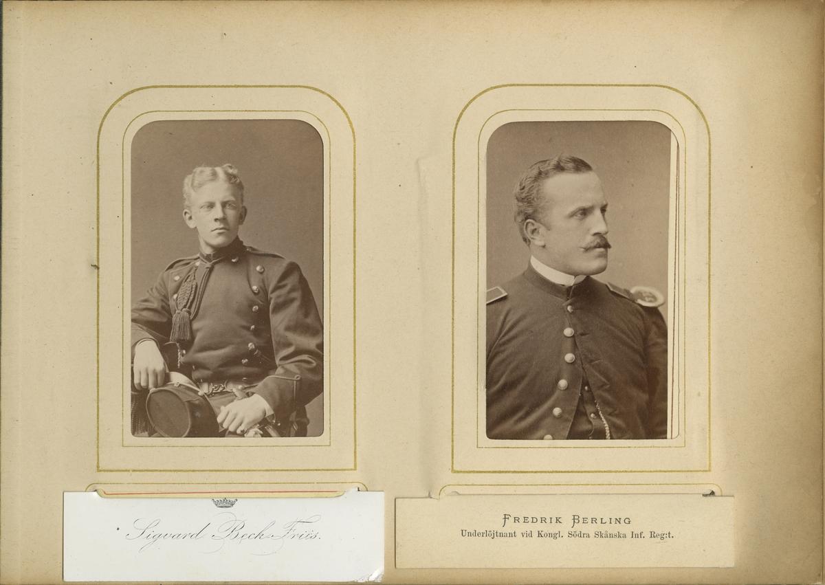 Porträtt av Sigvard Olof Beck-Friis, officer vid Skånska dragonregementet K 6.  Se även bild AMA.0007016.