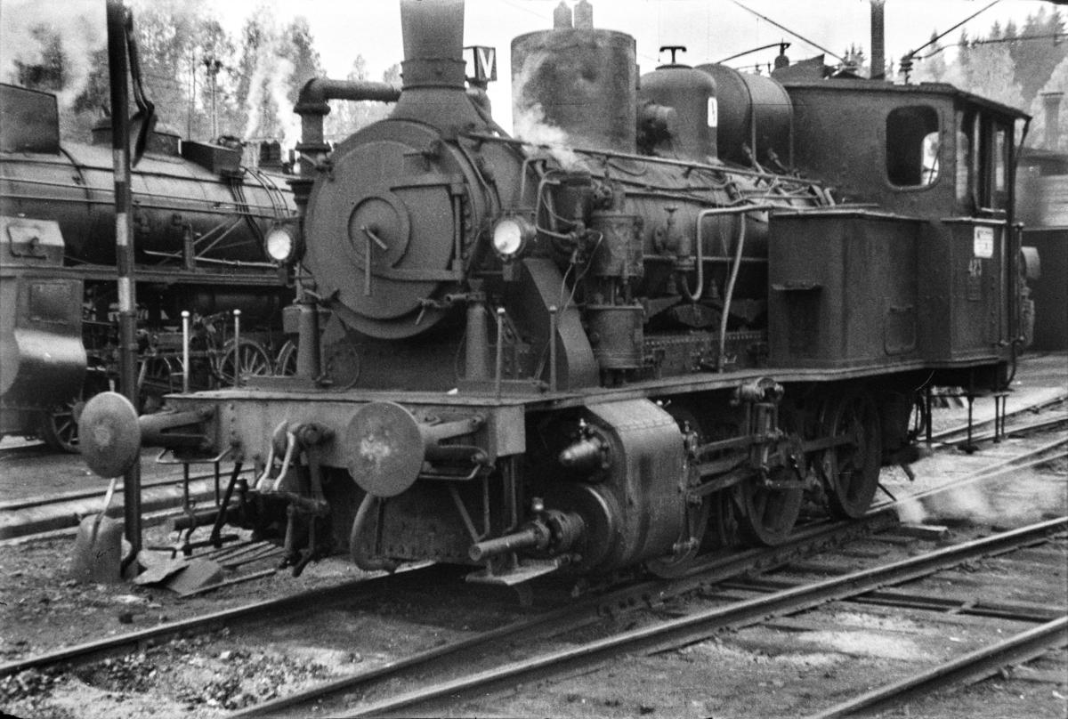 Damplokomotiv type 25d nr. 423 ved lokomotivstallen på Hønefoss stasjon.