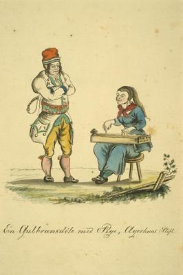 J F L Dreiers akvarell fra 1820-tallet viser ei jente fra Gudbrandsdalen med langeleik