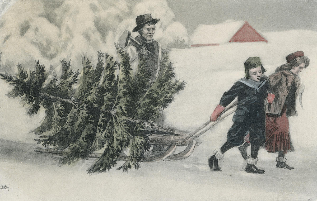 Postkort med juletremotiv
