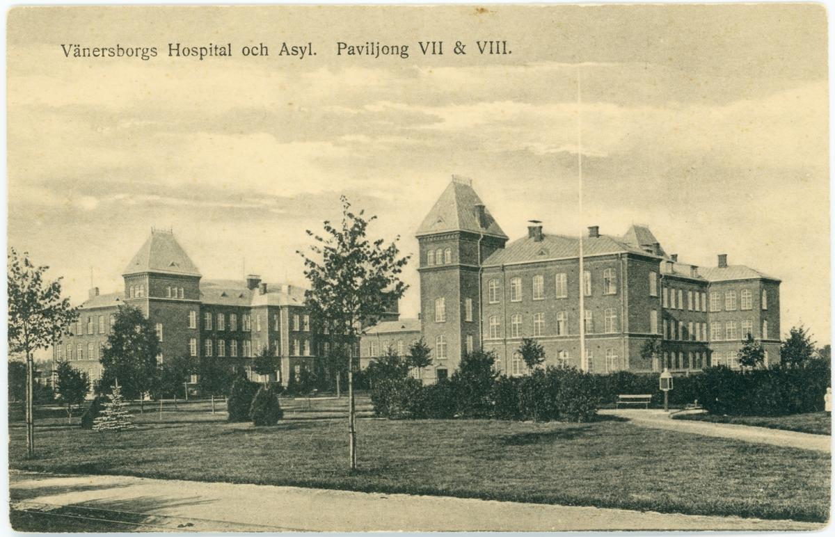"""Restads sjukhus. """"Vänersborgs Hospital och Asyl. Paviljong VII & VIII"""""""