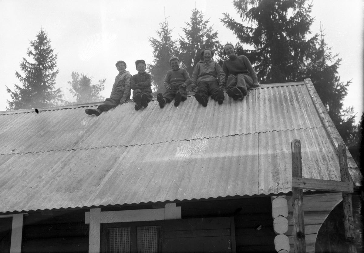 Fem personer sitter på taket.